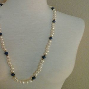 Jewelry - Pearl  and lapis necklace  from Japan